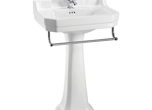 Edwardian 56cm Basin, Towel Rail & Regal Pedestal