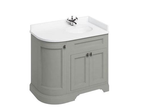 Freestanding 100 RH Curved Corner Unit - Carrara White Worktop/Integrated Basin
