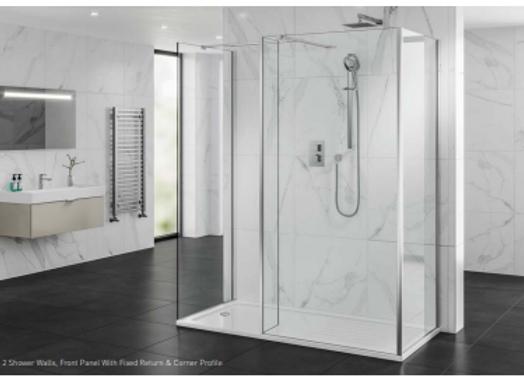 2 Shower Walls, Front Panel -Fixed Return -Corner Profile