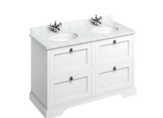 Freestanding 130 Unit - Carrara White Worktop/Drawers/2 Integrated Basins
