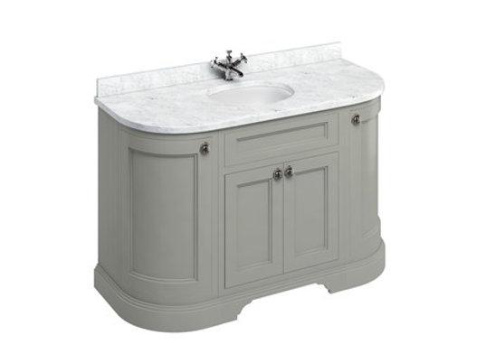 Freestanding 134 Curved Unit - Carrara White Worktop/Doors/Integrated Basin