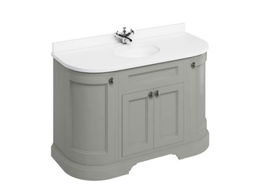 Freestanding 134 Curved Unit - White Worktop/Doors/Integrated Basin