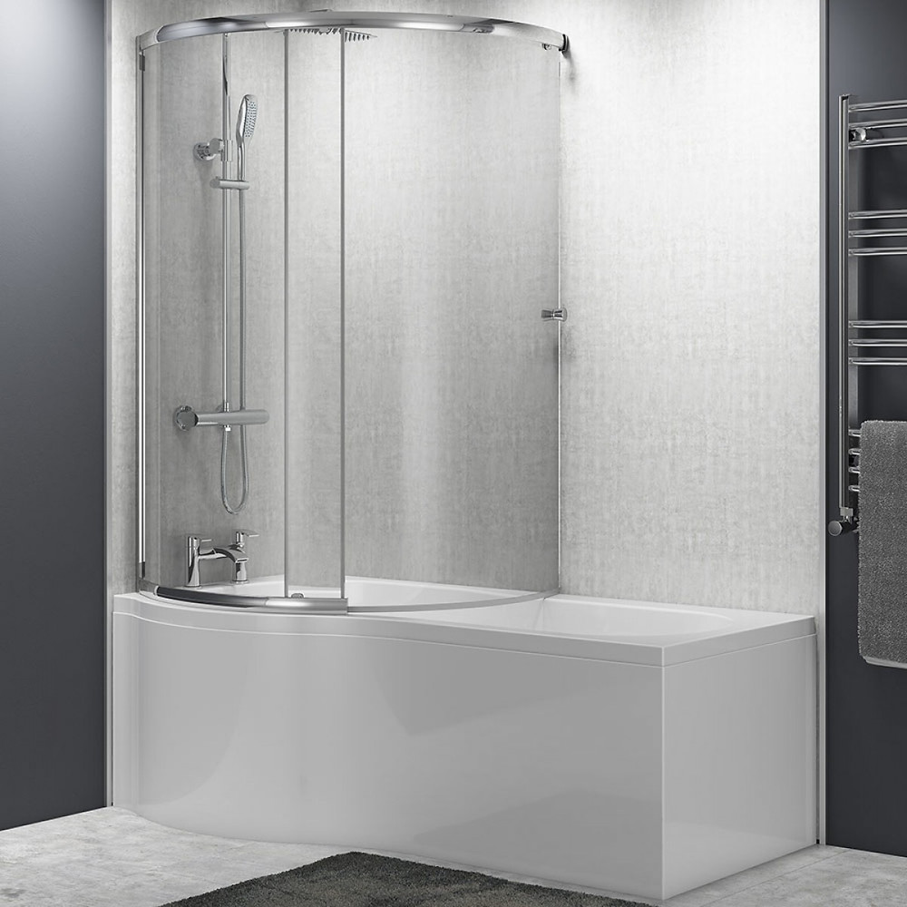 White shower bath with curved bath screen