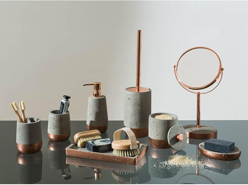 copper and stone bathroom accessories