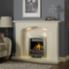 White fireplace surround and pebbled inset fire