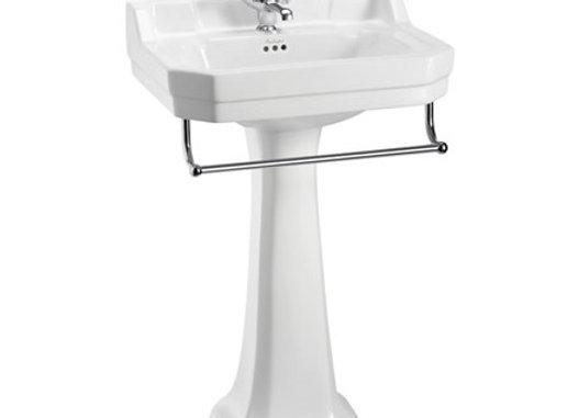 Edwardian 56cm Basin, Towel Rail & Standard Pedestal
