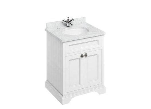 Freestanding 65 Unit - Carrara White Worktop/2 Doors/Integrated Basin