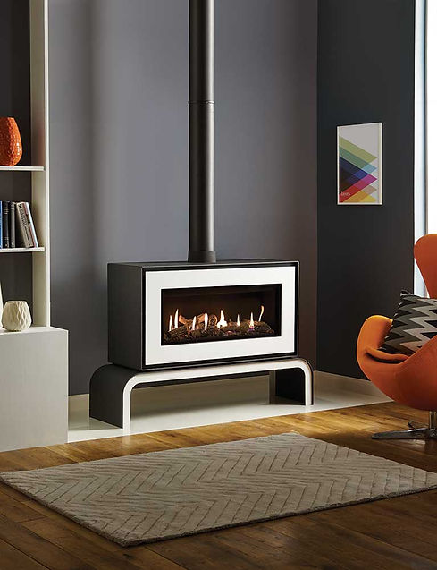 freestanding fireplace in black and white