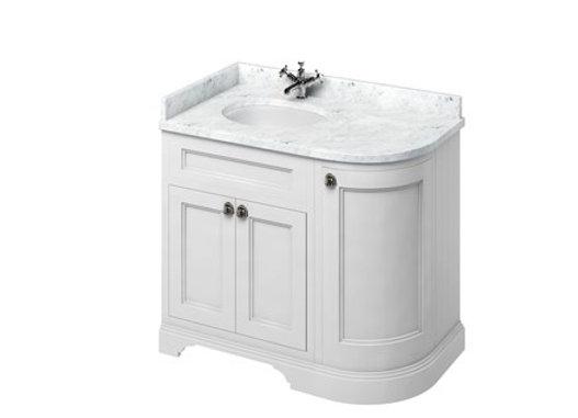 Freestanding 100 LH Curved Corner Unit - Carrara White Worktop/Integrated Basin