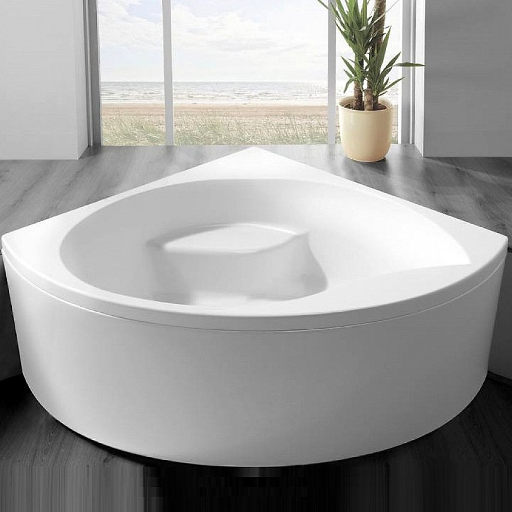White corner bath with seat