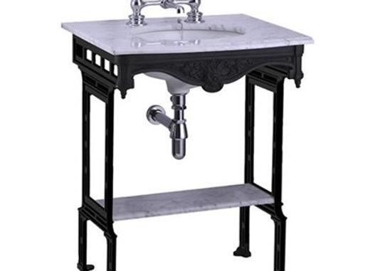 Carrara marble top & basin with black aluminium washstand