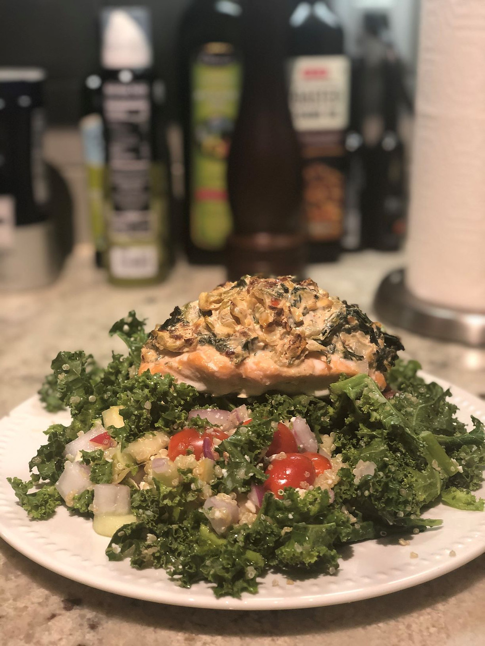 Spinach and Artichoke Stuffed Salmon with Kale and Quinoa Salad