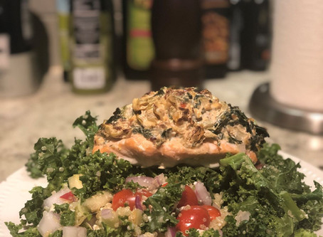 Recipe: Spinach & Artichoke Stuffed Salmon with Kale and Quinoa Salad