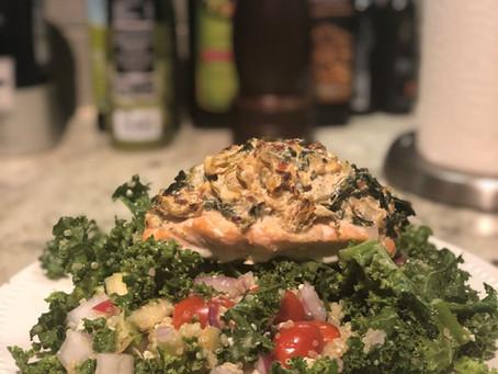 Recipe: Spinach & Artichoke Stuffed Salmon with Kale and Quinoa Salad