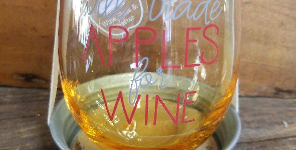 Wine glass and coaster