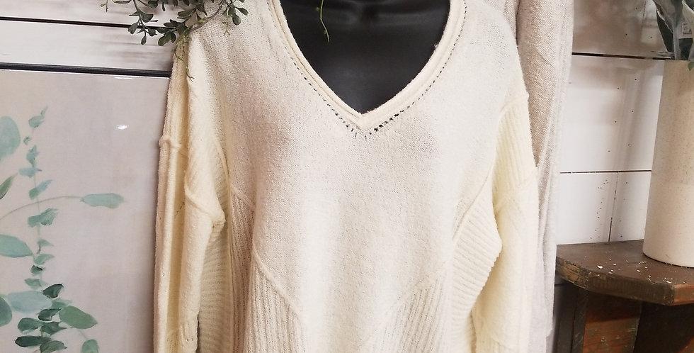 Cream v neck sweater