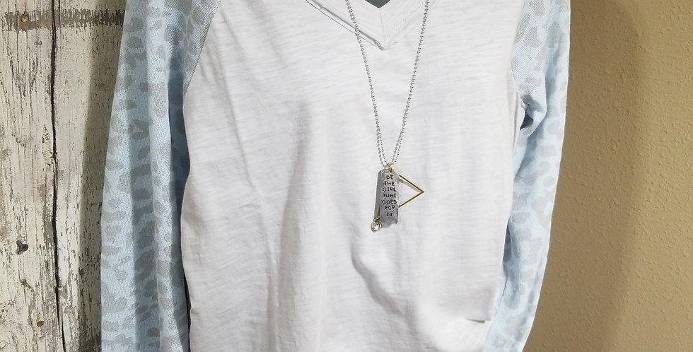 Gray v-neck top