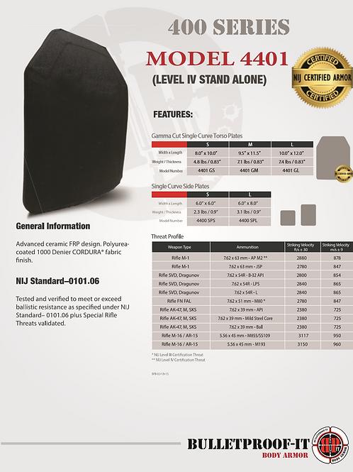 """Model 4401 NIJ Certified Level IV 10""""x12"""" Shooter Cut Rifle Plate"""