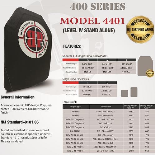 "Model 4401 NIJ Certified Level IV 10""x12"" Shooter Cut Single Curve Rifle Plate"