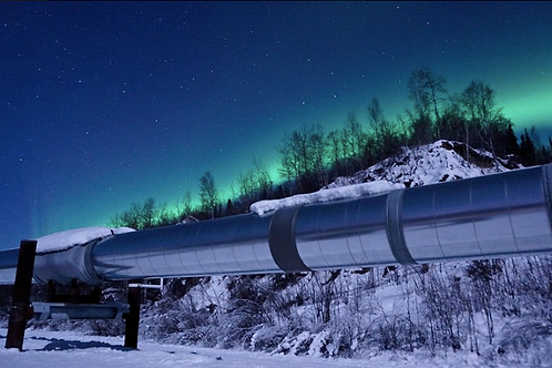 10x20 Metal- Aurora over Trans Alaska Pipeline