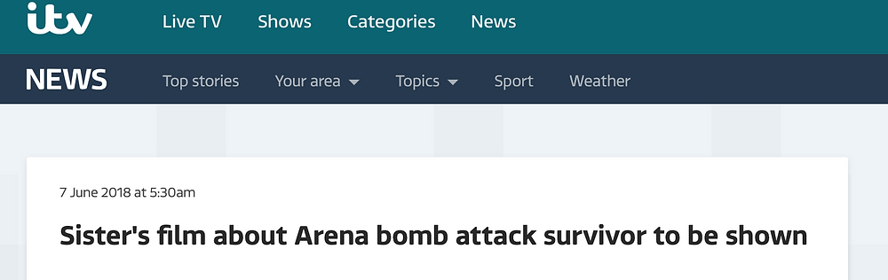 Online headline from ITV for In Bloom