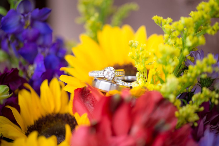 Rings on Bridal Bouquet