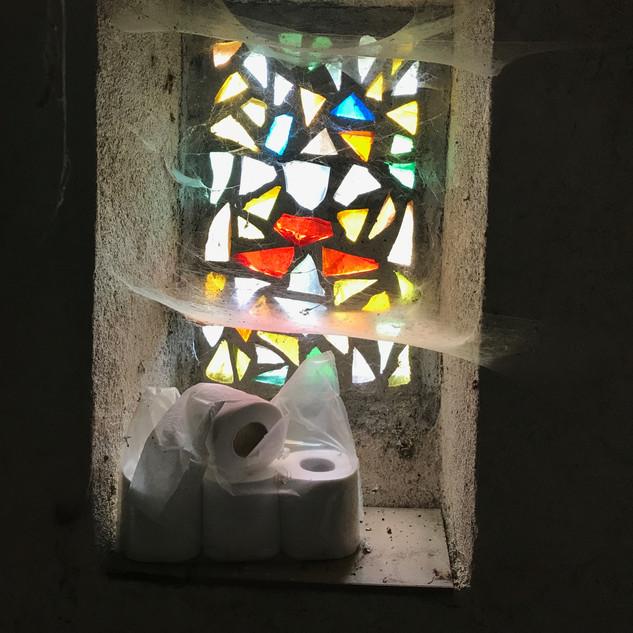 Les toilettes envahies par les araignées
