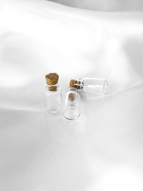 10 wensflesjes met kurk 24x13mm Transparant