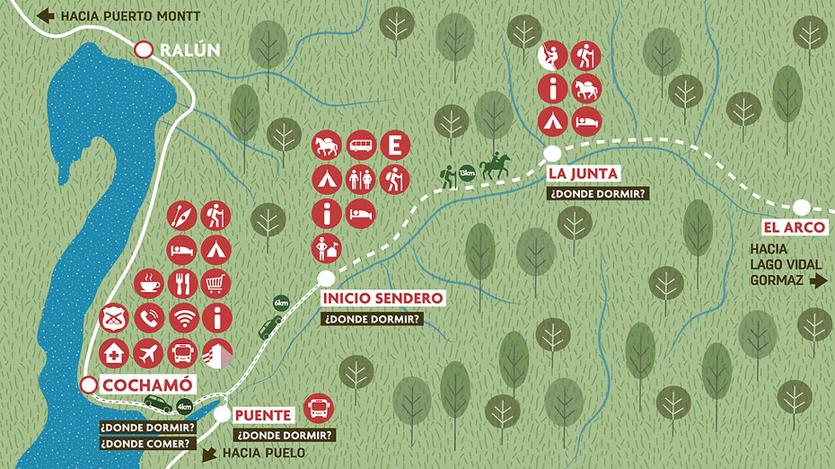 Valle cochamo, donde dormir, camping, hostal, climbing, trekking,