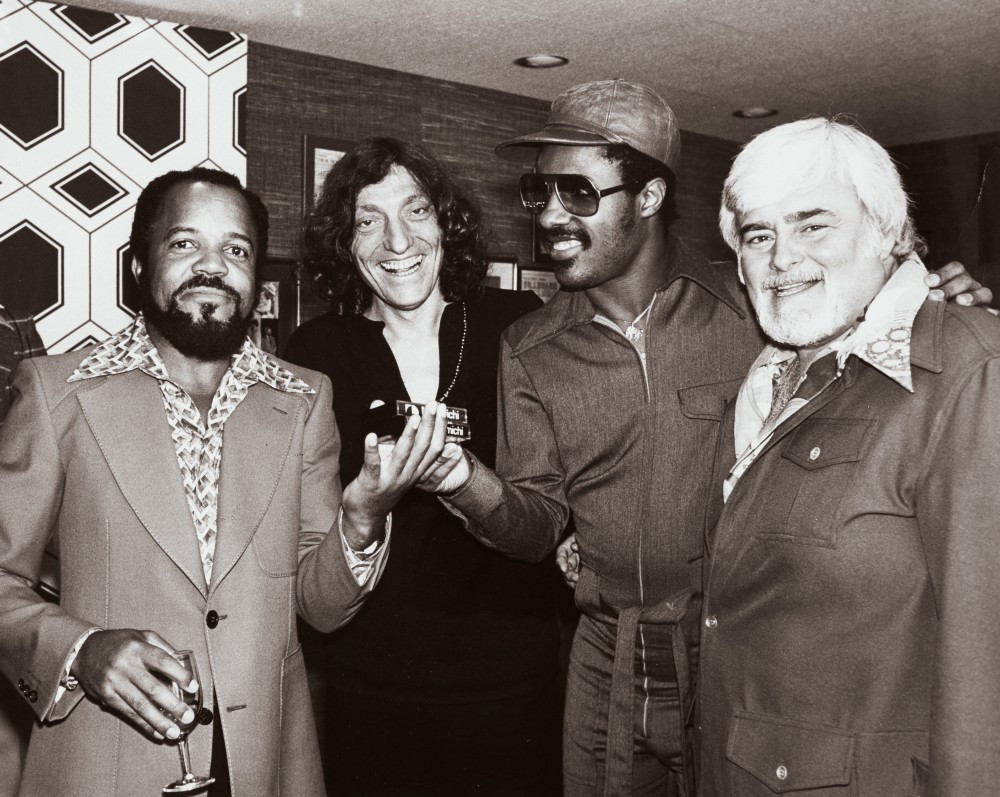 Stevie Wonder with Berry Gordy, Wonder's attorney Johanan Vigoda and Barney Ales in April 1976