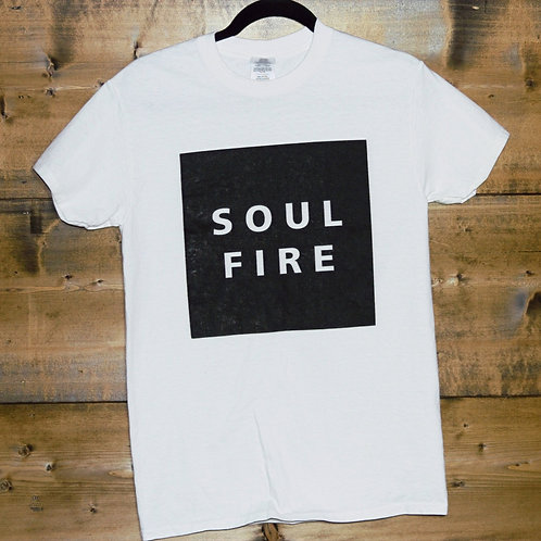 "White ""Soulfire"" black rect. t-shirt"
