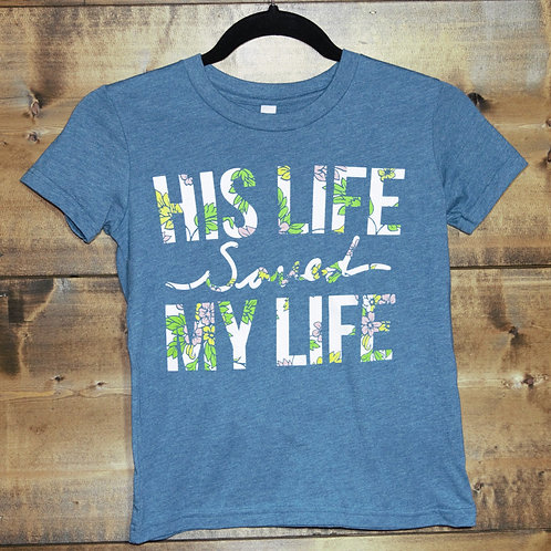 """YOUTH Heathered Teal """"His Life Saved Mine"""" Flower Inlay t-shirt"""