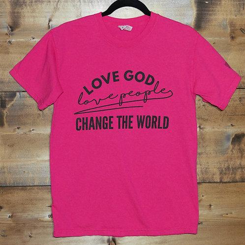 "Pink ""Love God Love People Change the World"" t-shirt"