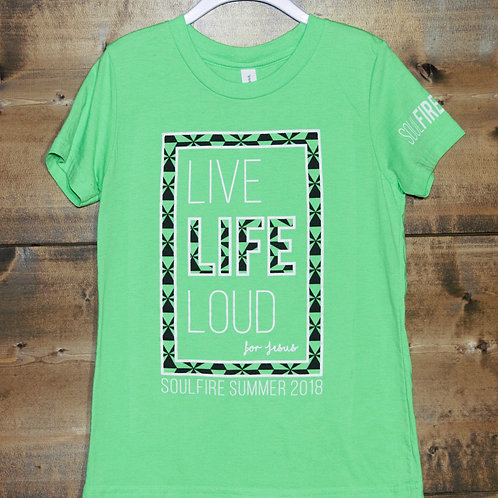 "YOUTH Lime Green Soulfire Summer ""Life Life Loud for Jesus"" t-shirt"