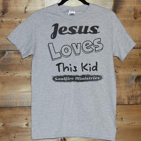 "Heathered Gray ""Jesus Loves This Kid"" t-shirt"