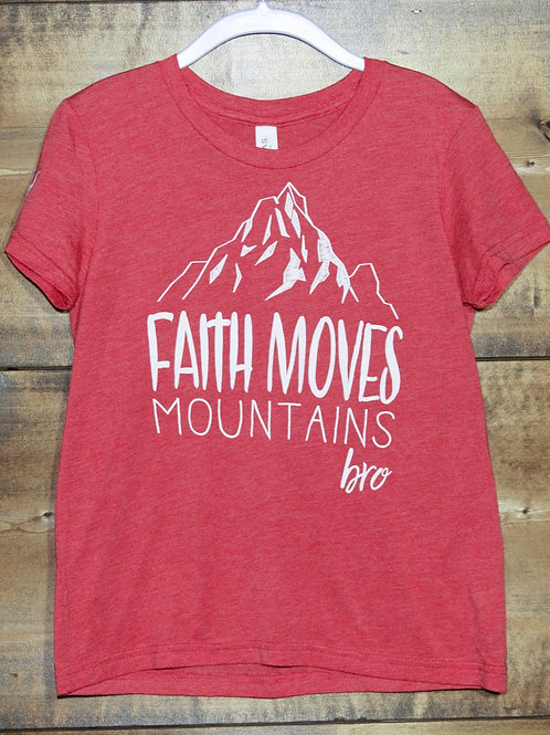 "YOUTH Heathered Red ""Faith Moves Mountains"" t-shirt"