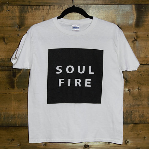 """YOUTH White """"Soulfire"""" on black rect. t-shirt"""