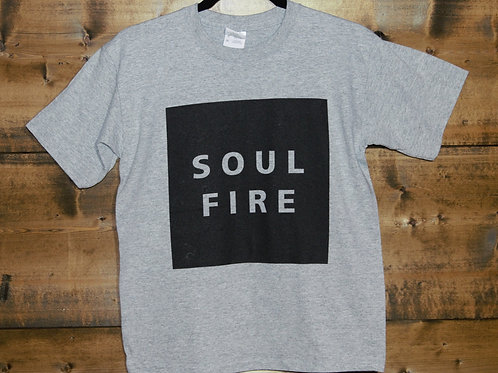 "YOUTH Heathered Gray ""SOULFIRE"" on black rect. t-shirt"