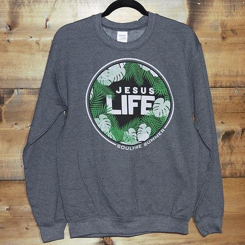 "Gildan Heathered Gray Soulfire Summer ""Jesus Life"" sweatshirt"