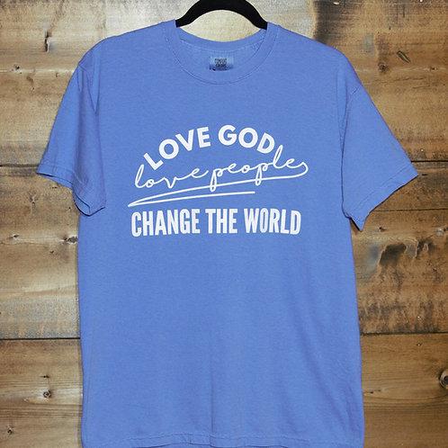 "Blue ""Love God Love People Change the World"" t-shirt"