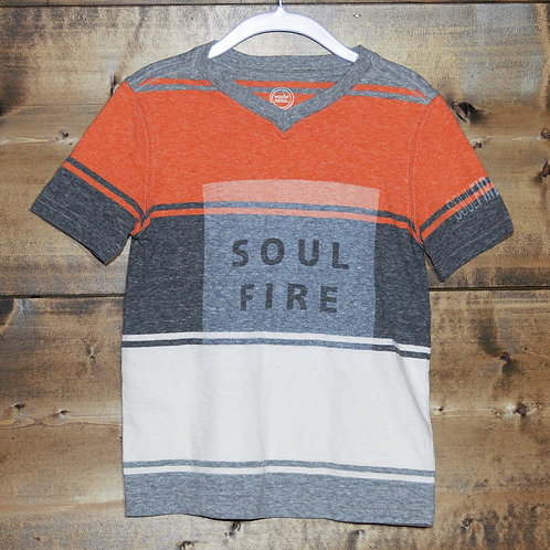 "YOUTH Heathered Orange, Gray, and White ""Soulfire"" V-neck t-shirt"
