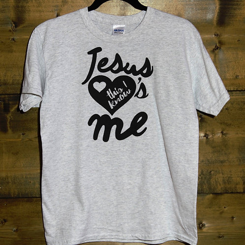 "YOUTH Heathered Light Gray ""Jesus Loves Me This I Know"" t-shirt"