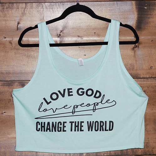 "Mint ""Love God Love People Change The World"" crop tank"