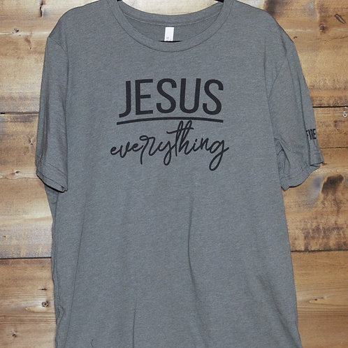 """Heathered Army Green """"Jesus Over Everything"""" t-shirt"""