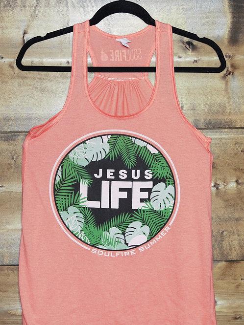 "Coral Racerback ""Jesus Life"" Soulfire Summer tank"