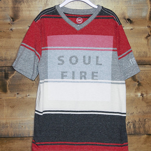 """YOUTH Heathered Red, Gray, and White """"Soulfire"""" V-neck t-shirt"""