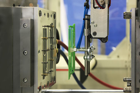 injection molding machine ejects the fin
