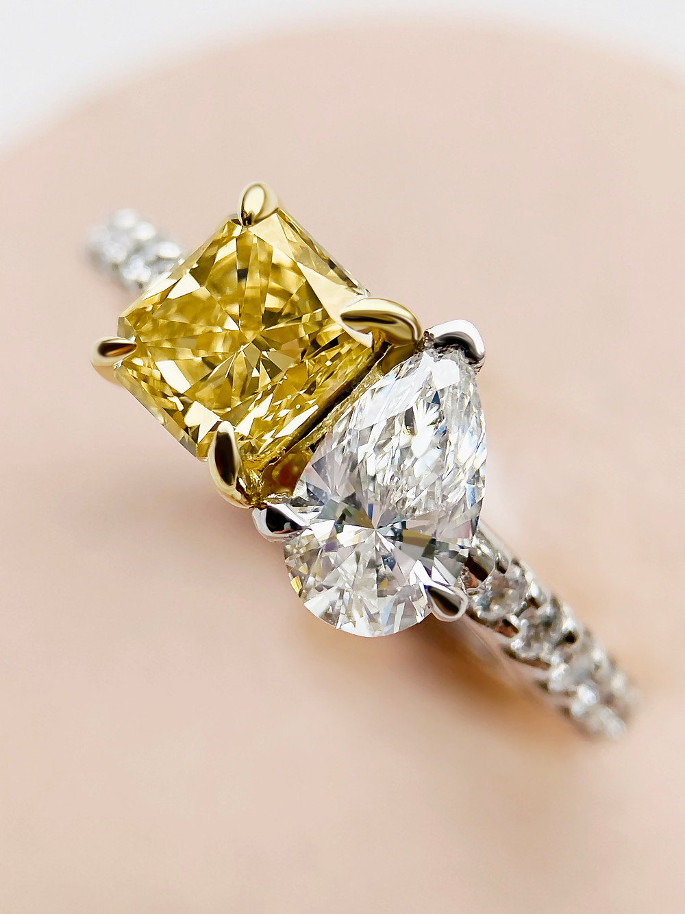 Yellow and White Diamond Toi x Moi Ring