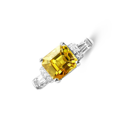 2.86ct Intense Yellow Sapphire Art Deco Ring
