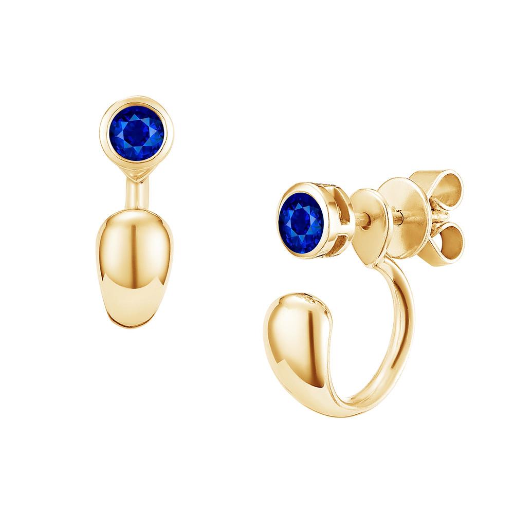 Blue Sapphire Earring Studs with Hoop-style Ear Jacket
